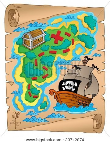 Parchment with treasure map 2 - vector illustration.