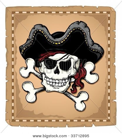 Jahrgang Pirate Skull Thema 2 Vektor Illustration.