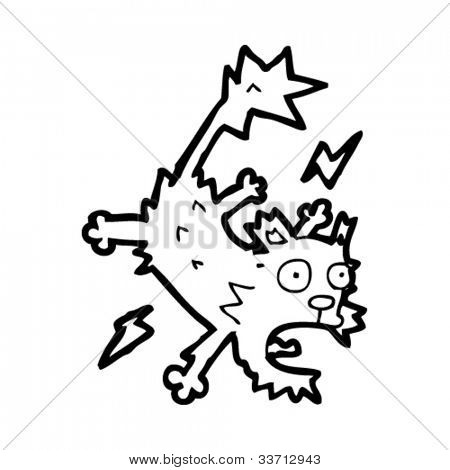 cartoon electrified cat