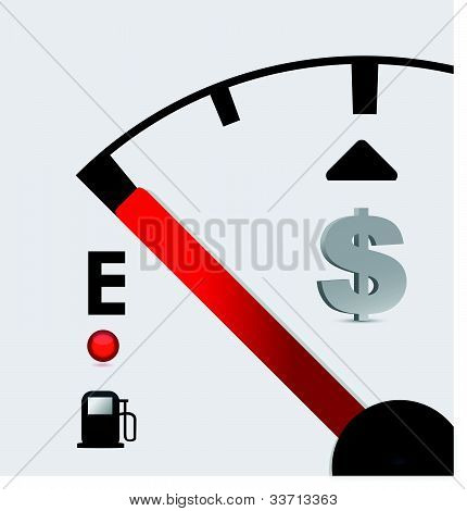 dollar sign Gas tank almost empty - illustration design