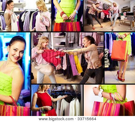 Collage of pretty girls doing shopping in department store