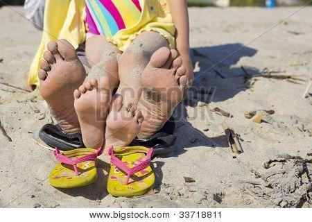 Mom & Daughter Beach Feet