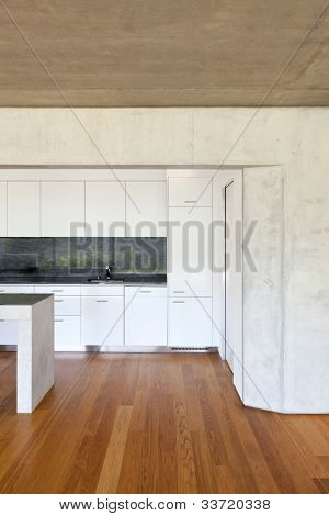 modern concrete house with hardwood floor, detail kitchen
