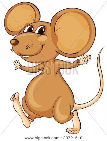 Cute cartoon mouse on white