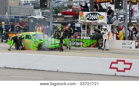 NEWTON, IA - MAY 20, 2012:  Danica Patrick (7) brings her car in for service during the Pioneer Hi-Bred 250 at the Iowa Speedway in Newton, IA on May 20, 2012.