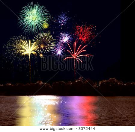 Firework And Lake