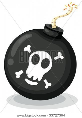 Illustration of a bomb on white