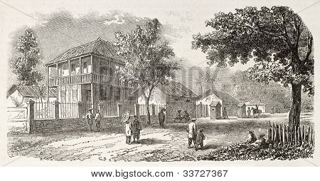 Residence of Vice-Admiral Louis Adolphe Bonard (1805-1867), French Cochinchine Governor, Saigon. Created by Gaildrau after Roussin, published on L'Illustration, Journal Universel, Paris, 1863