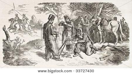 Polish January uprising: Cossacks insurgents outpost in Ukraine, old illustration. Created by Worms after Boni, published on L'Illustration, Journal Universel, Paris, 1863