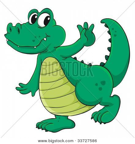 Cute cartoon crocodile on white