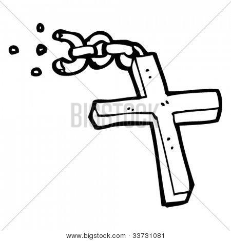 cartoon broken crucifix