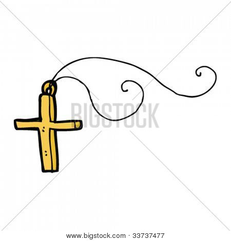 cartoon cross on necklace