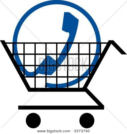 Shopping Cart W Phone Connection Symbol.