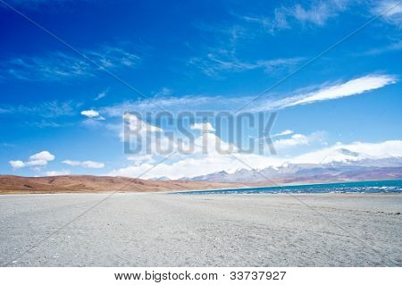 The lake Rakshas Tal , Tibet landscape