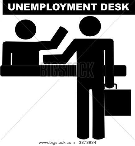 Stick Man Business At Unemployment Desk.