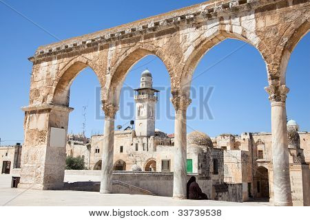 Pillars of Temple Mount (Har Ha-Bayit) in Old City of Jerusalem. Israel