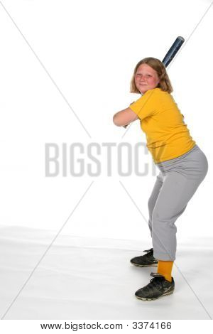 Heavy Girl With Softball Bat