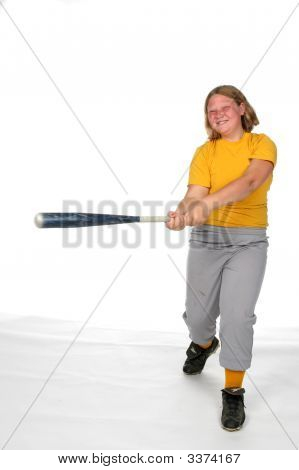 Chubby Girl Swinging Softball Bat