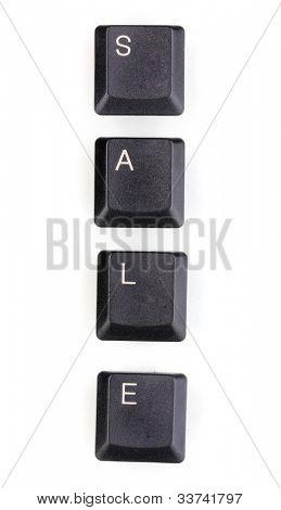 Keyboard keys saying sale isolated on white