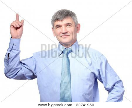 serious businessman presenting showing with copy space for your text isolated on white background