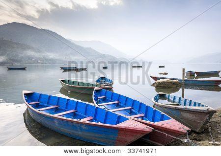 Boats On Fewa Lake In Pokhara, Nepal