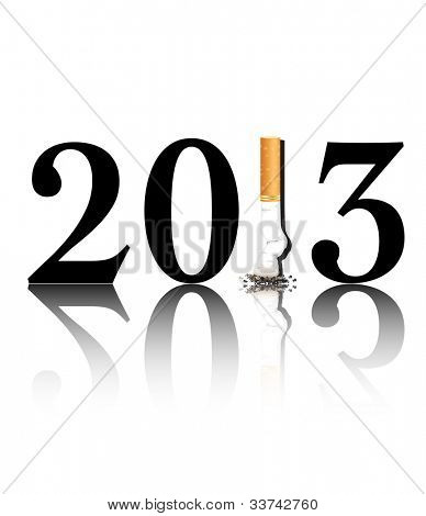 New Year's resolution Quit Smoking concept with the i in 2013 being replaced by a stubbed out cigarette. EPS10 vector format.