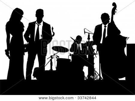 Vector drawing of a jazz band on stage