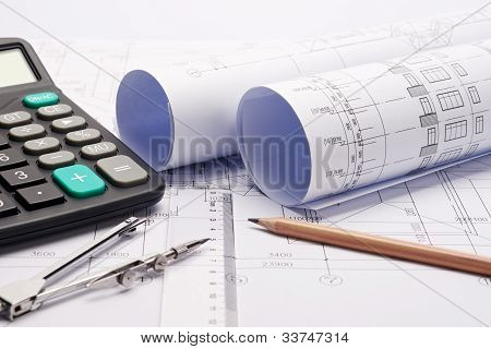 Construction Plan Blueprints With Tools