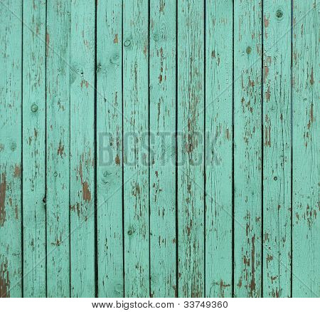 Green Wooden Fence Background