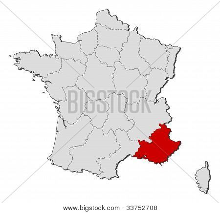 Map Of France, Provence-alpes-côte D'azur Highlighted