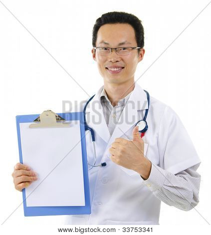 Asian male doctor thumb up showing perfect medical test results