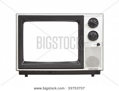 1980's portable television set with empty screen isolated .