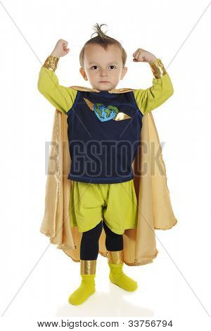 Full length portrait of a tiny superhero showing his muscles.  On a white background.