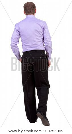 back view of walking  business man.  going businessman. Isolated over white background. Rear view people collection.  backside view of person.