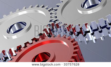 Two steel gears in connection with red one. Concept for teamwork and business. Computer generated 3D photo rendering.