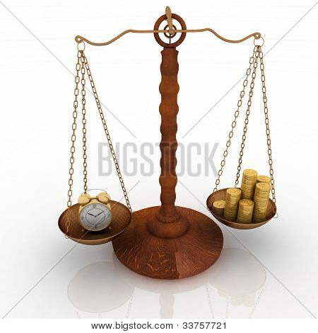 concept time is money, clock and money on scales. 3d  illustration