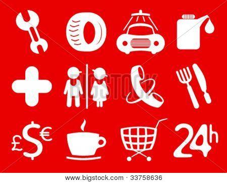 Car services, gas station icons. Symbols roadside services.