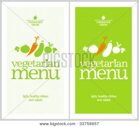 Restaurant Vegetarian Menu Cards Design template.
