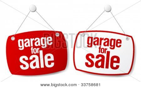 Garage for sale vector signs.