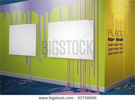 Colored walls with paint splashes and empty canvases hanging on them. Vector eps10