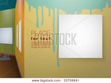 Farbige Wände mit Farbe Spritzer und leere Leinwände an ihnen hängen. Vektor eps10