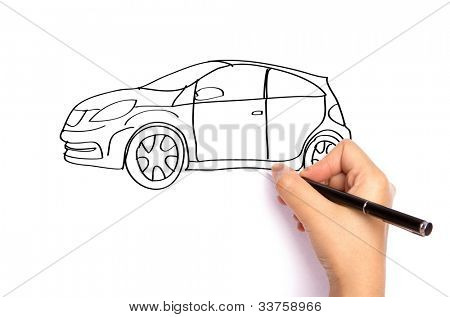 Hand write car  with pen on paper over  white background