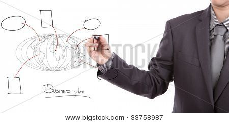 Businessman drawing the world map of business plan  in a whiteboard