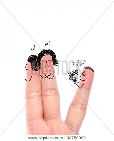 Broken heart concept painted on human fingers ( Two women say no  and one  man hold flower  )