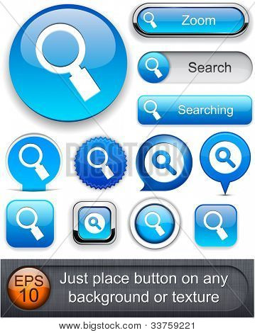 Search blue design elements for website or app. Vector eps10.