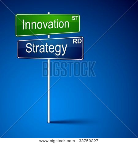 Vector direction road sign with innovation strategy words.