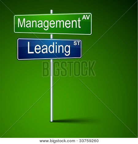 Vector direction road sign with management leading words.