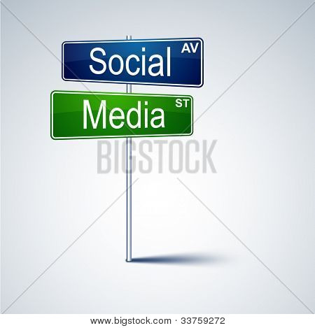 Vector direction road sign with social media words.