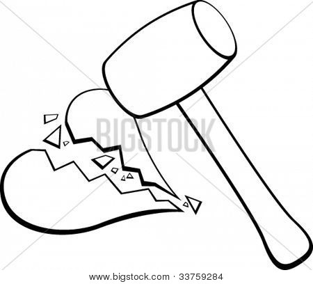 breaking a heart with a mallet