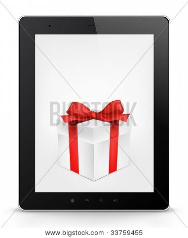 Gift Concept. Tablet PC Isolated on White Background. Vector EPS 10.